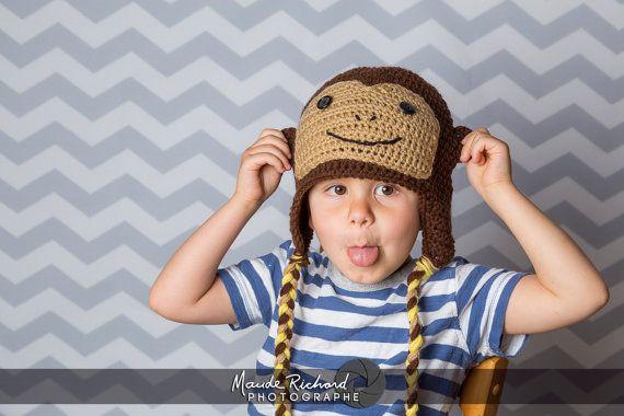 Retrouvez cet article dans ma boutique Etsy https://www.etsy.com/ca-fr/listing/226950261/bonnet-de-singe-en-tricot-tuque