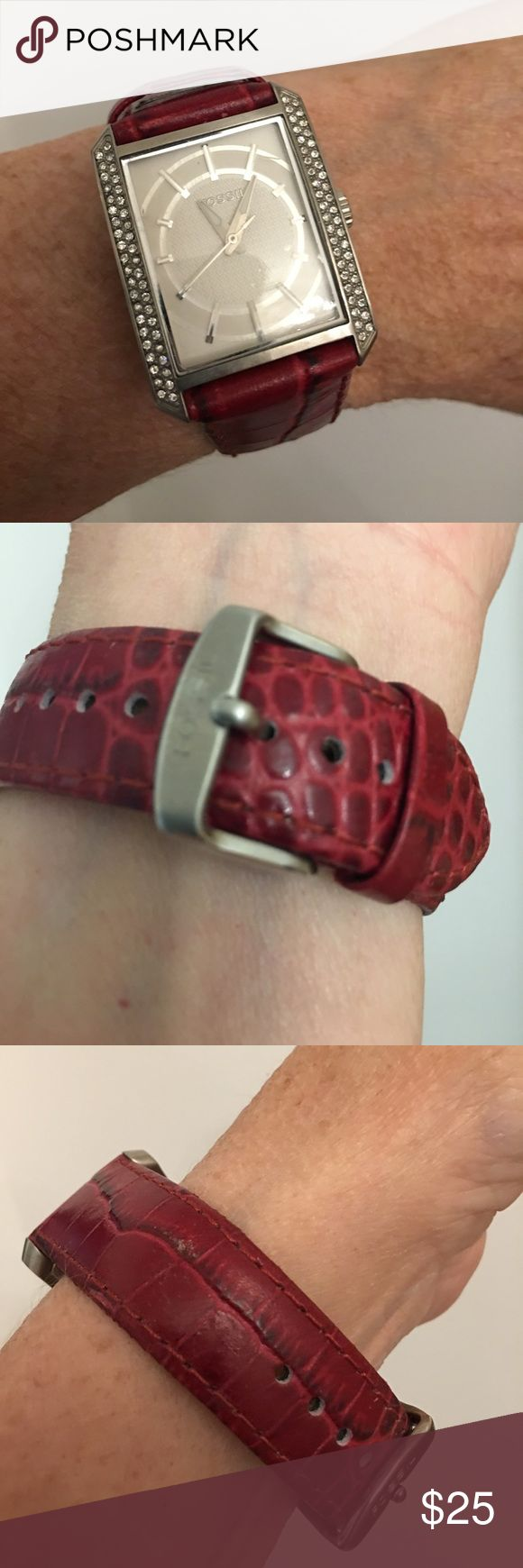 Red Leather Band Fossil watch white face 2nd hand Swarovski Crystals Red Leather Band Fossil watch white face 2nd hand never been worn. No box no tag needs Battery Estate Sale piece Fossil Accessories Watches