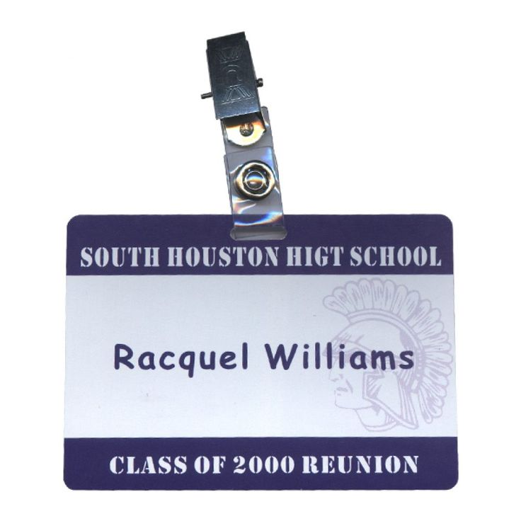 """Name tag customized in school colors, includes yearbook image. Name tags are printed on cardstock, includes vinyl holder and clip.Need help preparingyearbook photos? See FAQ #4. Layout No.: EG-022633 Material: Vinyl Holder + Cardstock Size: 4"""" x 2.75"""" Weight: N/A Product Description: Name tag customized in school colors, includes yearbook image. Name tags are printed on cardstock, includes vinyl holder and clip.Need help preparingyearbook photos? See FAQ #4."""