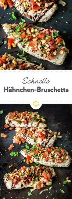 Diese Hähnchen Bruschetta mit Balsamico Reduktion ist ganz schnell und einfach zubereitet: Ein Low Carb Gericht mit mediterranen Geschmack!