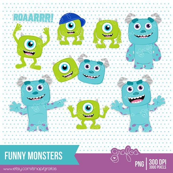 FUNNY MONSTERS Digital Clipart  Monster Digital Clipart by grafos, $5.00
