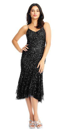 baea1cf573 Sleeveless Sequin Dress with High Low Trumpet Skirt