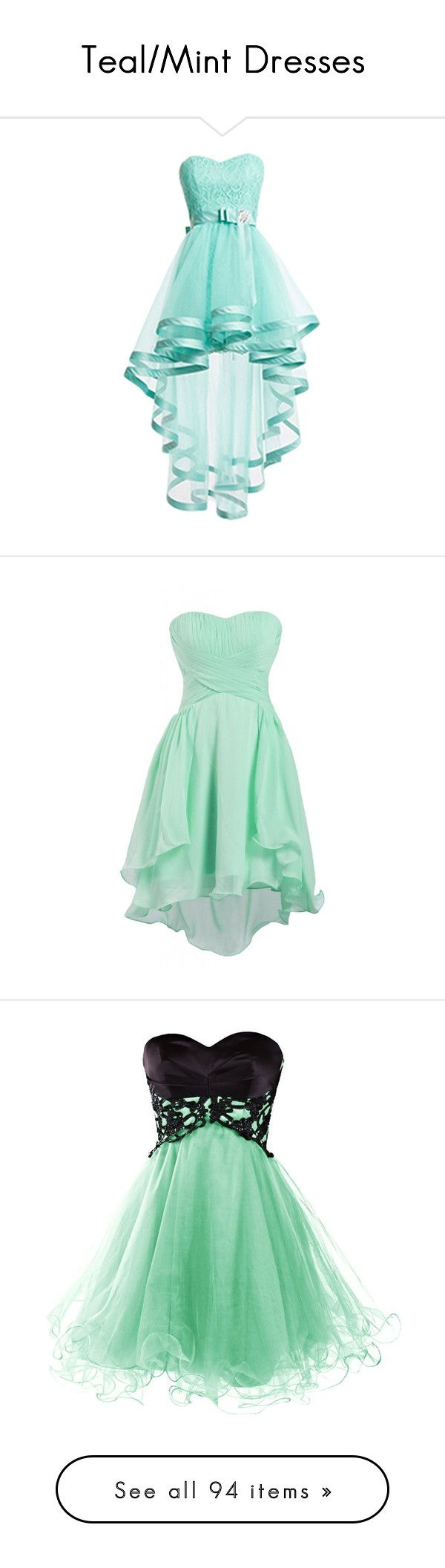 """Teal/Mint Dresses"" by megsjessd99 ❤ liked on Polyvore featuring dresses, prom…"