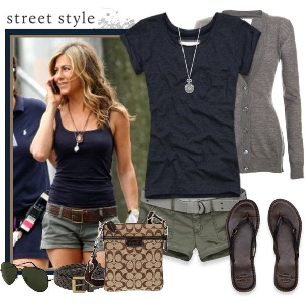 green shorts & black teeArmy Green, Fashion, Summer Casual, Jennifer Aniston, Summer Looks, Casual Summer, Summer Style, Summer Outfits, Green Shorts