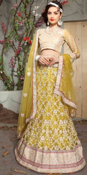 Superb Yellow Net Lehenga Choli.