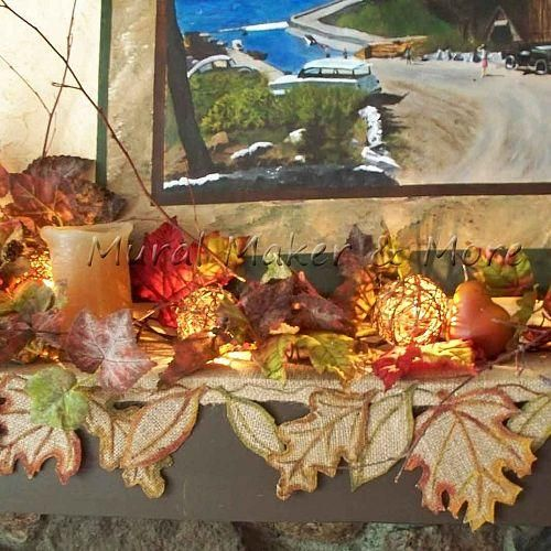 how to make fall leaf mantel scarf from burlap: Fall Leaves, Fall Mantles, Leaf Mantels, Burlap Crafts, Fall Burlap, Fall Leaf, Mantels Scarfs, Scarfs Falldecor, Fall Color