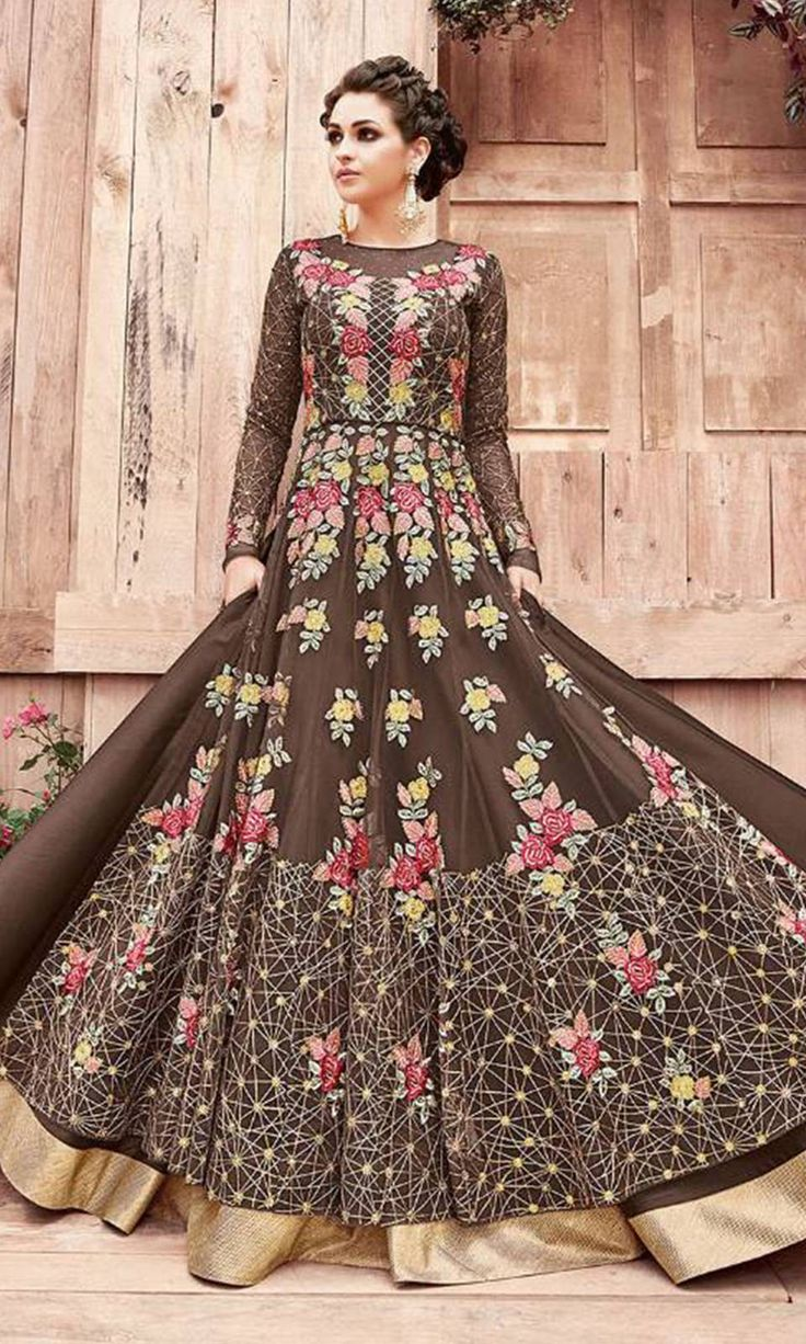 Buy online Party Wear Brown Designer Salwar Kameez (SKU Code : SUEBRZO21004) at Ishimaya Fashion.