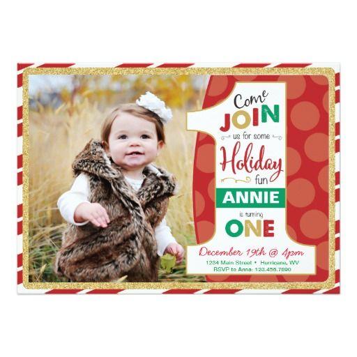 Holiday First Birthday Invitation Christmas Card