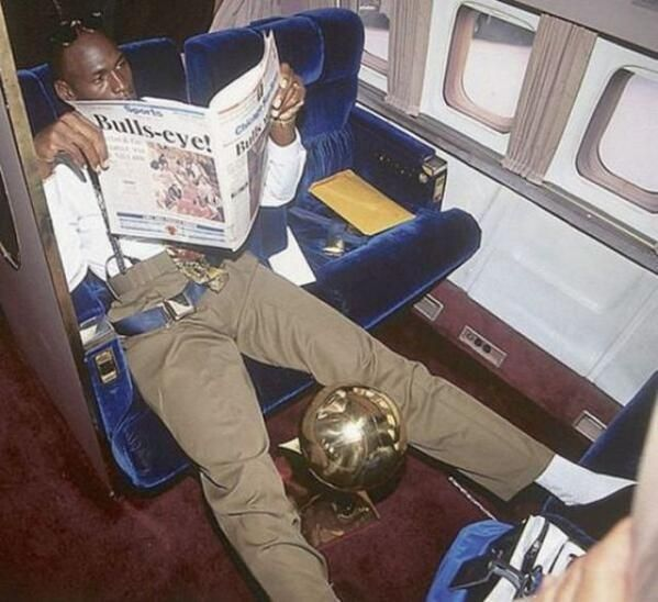 Michael Jordan flying home after winning one of his 6 NBA championships