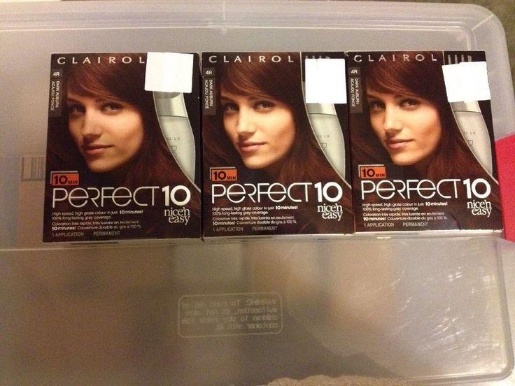 3 Clairol Perfect 10 Hair Color, 4R Dark Auburn #Clairol