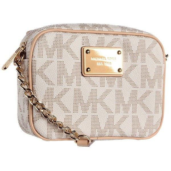 010a90612c4b ... denmark michael michael kors mk logo crossbody vanilla handbags 90  liked on polyvore featuring bags handbags