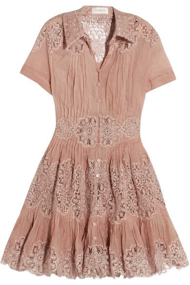 Zimmermann - Winsome Cotton-gauze And Lace Mini Dress - Antique rose - 2