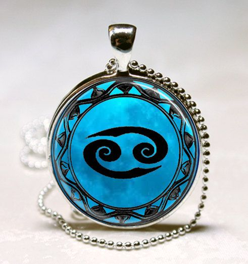 Cancer Blue Moon Zodiac Symbol Pendant, Cancer Zodiac Necklace Astrology Horoscope Jewelry Necklace Pendant (PD0461)