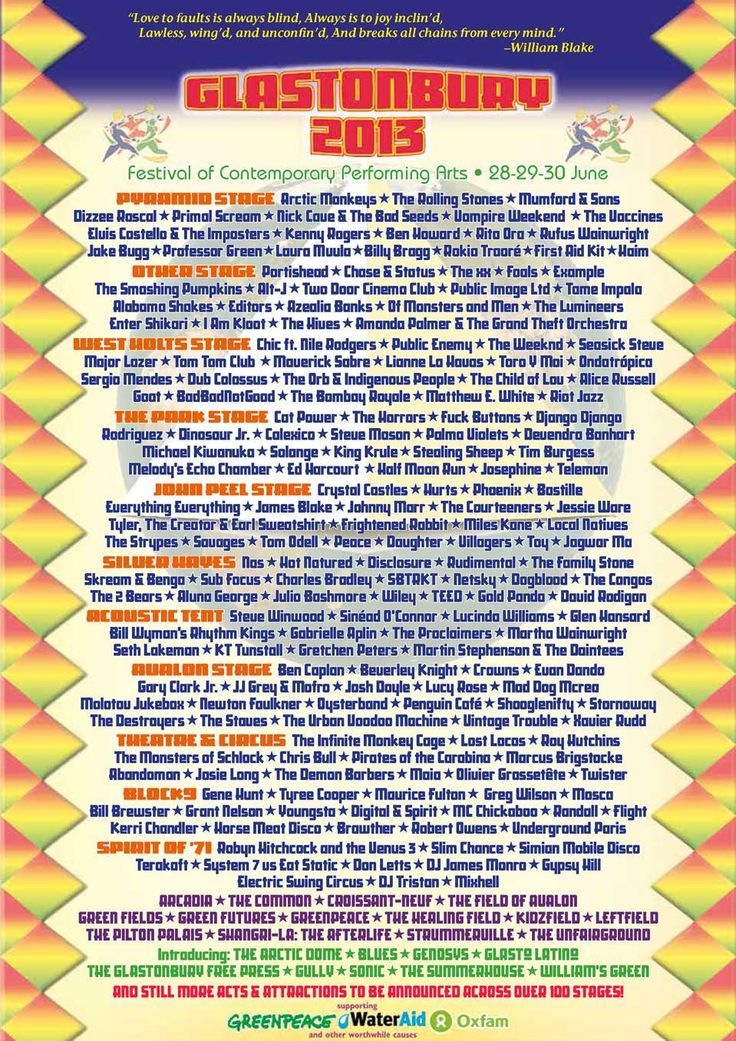 Culture      Music      Glastonbury 2013    Badge Music Blog        Next      Previous      Blog home    Glastonbury 2013: a lineup proving you can keep everybody happy    The Rolling Stones were certainly a coup – but it's the inclusivity of the event, which manages to cater for absolutely everyone, that's really impressive        Share 194      inShare2      Email    The low-tech Glastonbury announcement from its website View larger picture  The low-tech Glastonbury announcement from its…