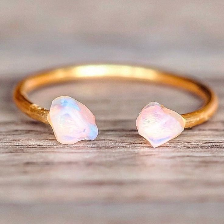 Gold Little Raw Opal Ring || Available in our 'Mermaid' Collection || www.indieandharper.com