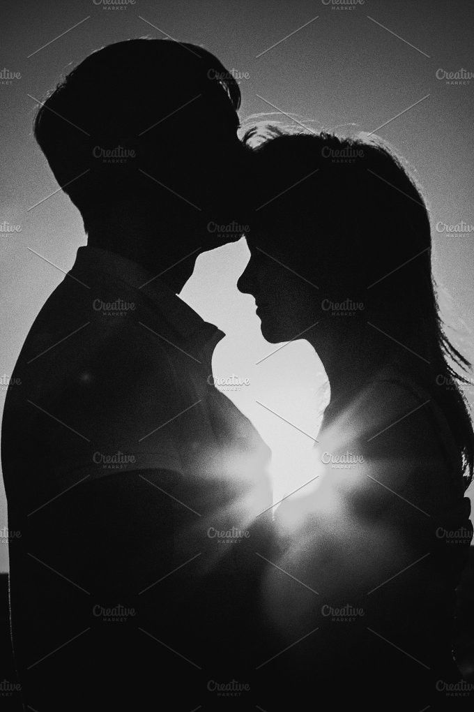 Black White Photography Romantic Silhouette Couple Standing And