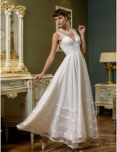 A-line Ankle-length Wedding Dress - V-neck Tulle/Organza – USD $ 79.99