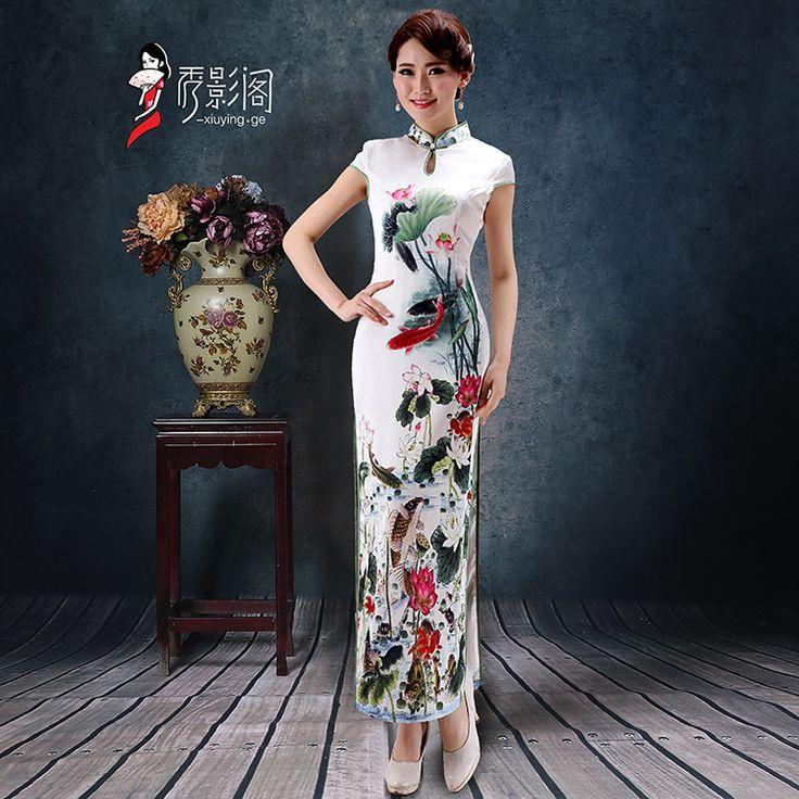 2016 New Chinese Traditional Dress Cheongsam Long Qipao Vestido Oriental Dress Modern Qipao Dress Casual Olympics Costumes China