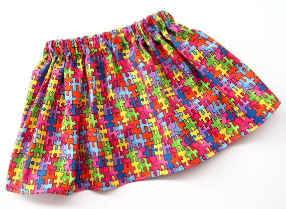 Autism Puzzle Piece Skirt    Very cute toddler and girls Puzzle Piece Skirt. Each skirt is made to order based on standard sizes and meant
