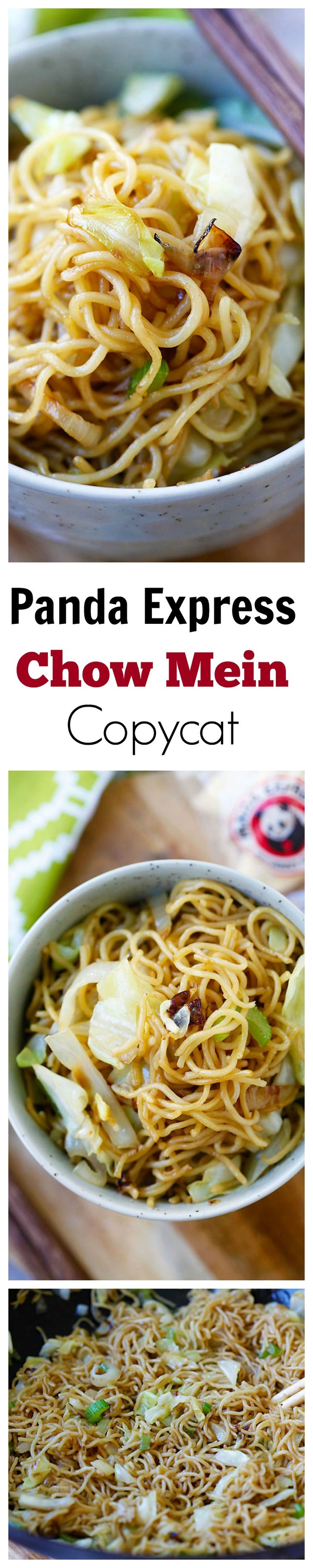 BEST Panda Express Chow Mein copycat recipe EVER that tastes EXACTLY like Panda Express!! So good, so easy, healthier & takes 15 mins!! | rasamalaysia.com