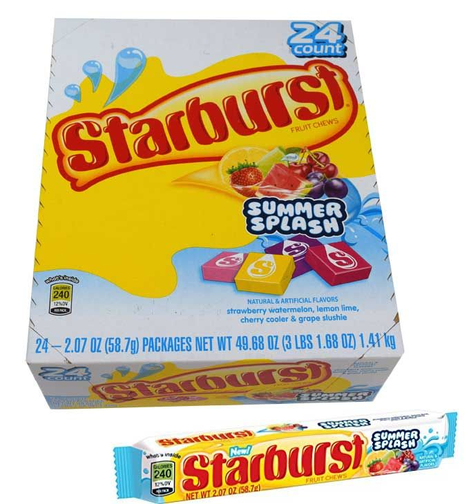 Get all of the flavors of summer anytime with a pack of Starburst Summer Splash candy. Each of these packs has summer candy flavors, such as strawberry, watermelon, lemon lime, cherry cooler, and grape slushy. This novelty candy version of your favorite Starburst flavors is sure to have you dreaming of summer!  <br><br> <ul><li> Each box of novelty candy comes with 24 packages and is about 3lbs when shipped.</li> <li> Want to purchase Starburst candy i...