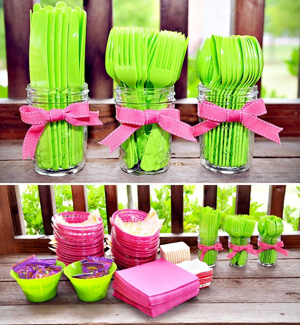 Neon pink and green eating utensils, napkins, plates, bowls, ribbons - fresh, fun party ware!