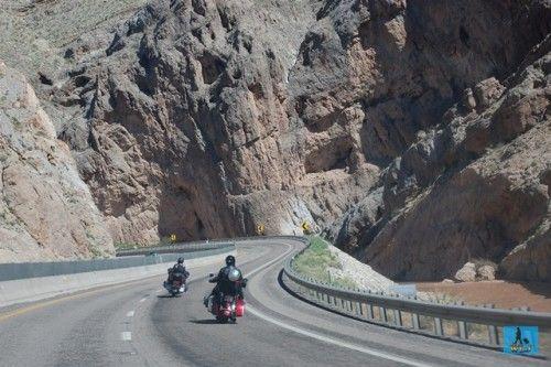 Motocyclists on Highway 75 near Las Vegas, U.S.A. world lifetime journeys