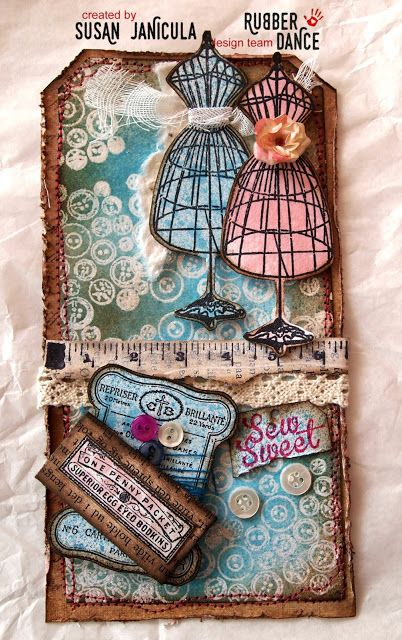 """So Sweet Vintage Tag by Susan, using our May Challenge colours and theme. All stamps from the set """"Sew Sweet"""" by rubberdance.com"""