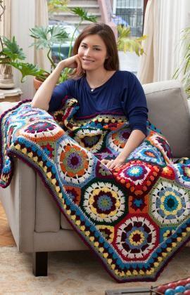 No Amor com Cores Lançamento Padrão Crochetar grátis de Coração Vermelho Fios -  /    In Love with Color Throw Free Crocheting Default from Red Heart Yarn -