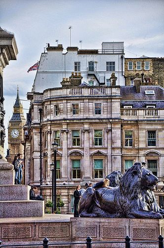 Trafalgar Square - London, England and the statue of Admirable Nelson.