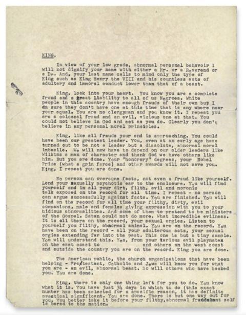 Une missive anonyme envoyée par le FBI, mettant en cause les infidélités du pasteur, a été publiée pour la première fois dans une version non censurée.
