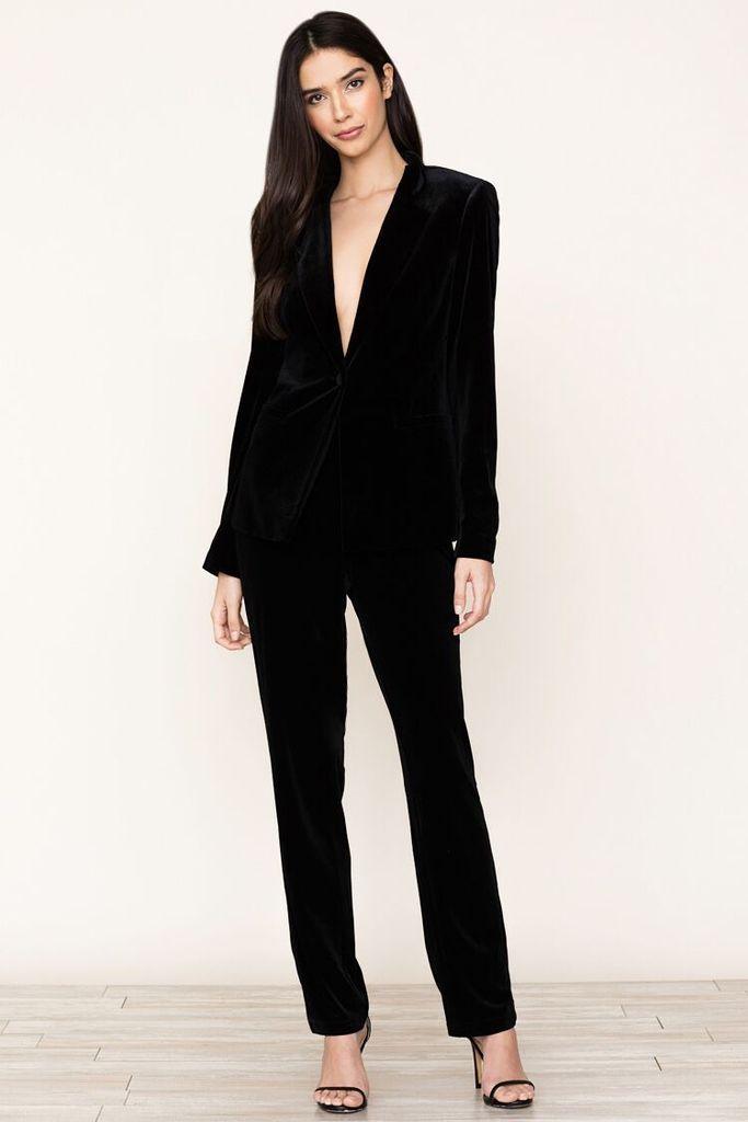 Womens Black Velvet Pantsuit