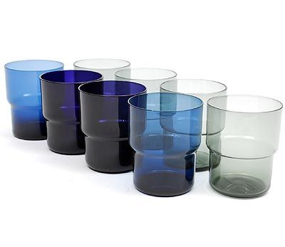 Small purple blue and smoke glass stacking beakers design Saara Hopea 1954 executed by Nuutajärvi Notsjö / Finland