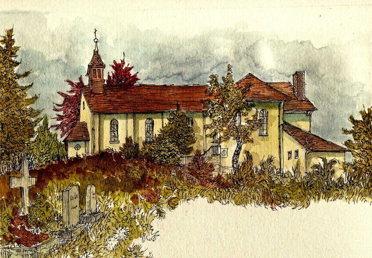 sketch/watercolor of the catholic church in Kandern, Germany