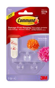 Hang Chinese lanterns, Christmas bulbs, paper flowers, Party fun 17803-ES Command(TM) Celebrations Ceiling Hook