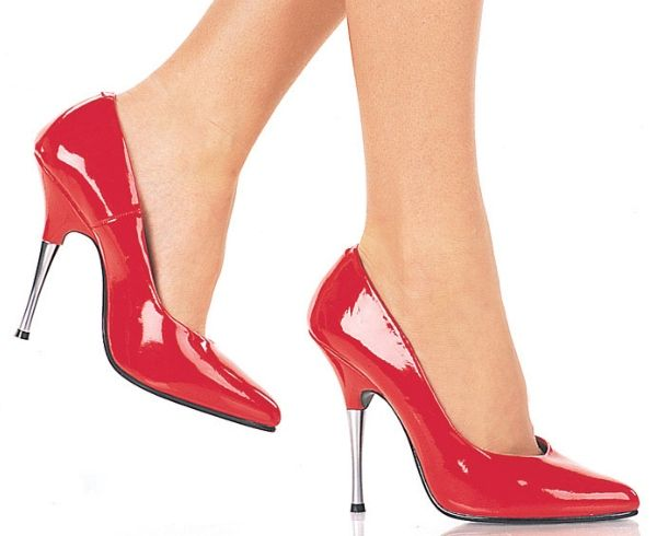 #Pleaser Shoes Entice-420 Red #Red classic shoes with court design, pointed toe and extra high 5 inch (12.5 cm) metal heels. Made in glossy patent, these shoes have a discreet shine that makes them stand out of the crowd. Pair them with party outfits, use them to spice up office looks or wear them with our ankle cuffs for sexy fetish looks.