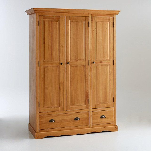 Armoire 3 portes pin massif finition cir e penderie et ling re authentic s - Armoire penderie 3 portes ...