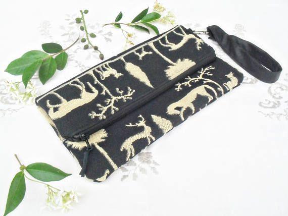 Pochette con cerniera nero e Beige tessuto di cotone