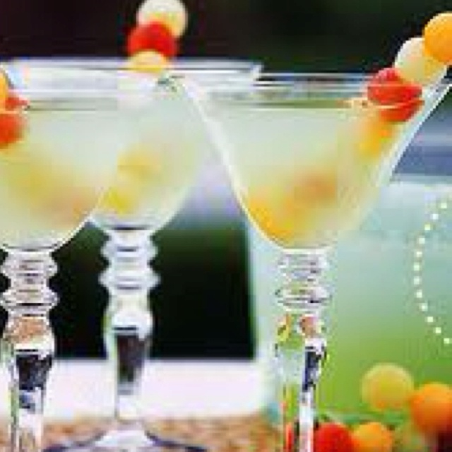 Cute cocktail accents - melon balls!