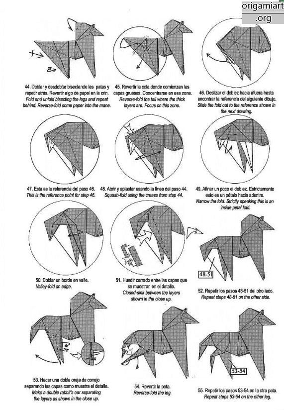 the complex origami  running horse origami diy graphic