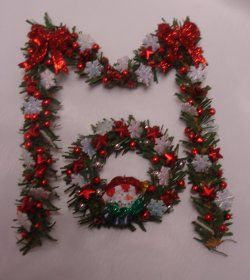 red/silver,snowflake garland and wreath