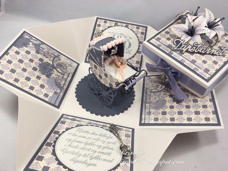 Kristinas kortblogg: Eksplosjonsboks til dåpsbarnet (DT North Star Design)