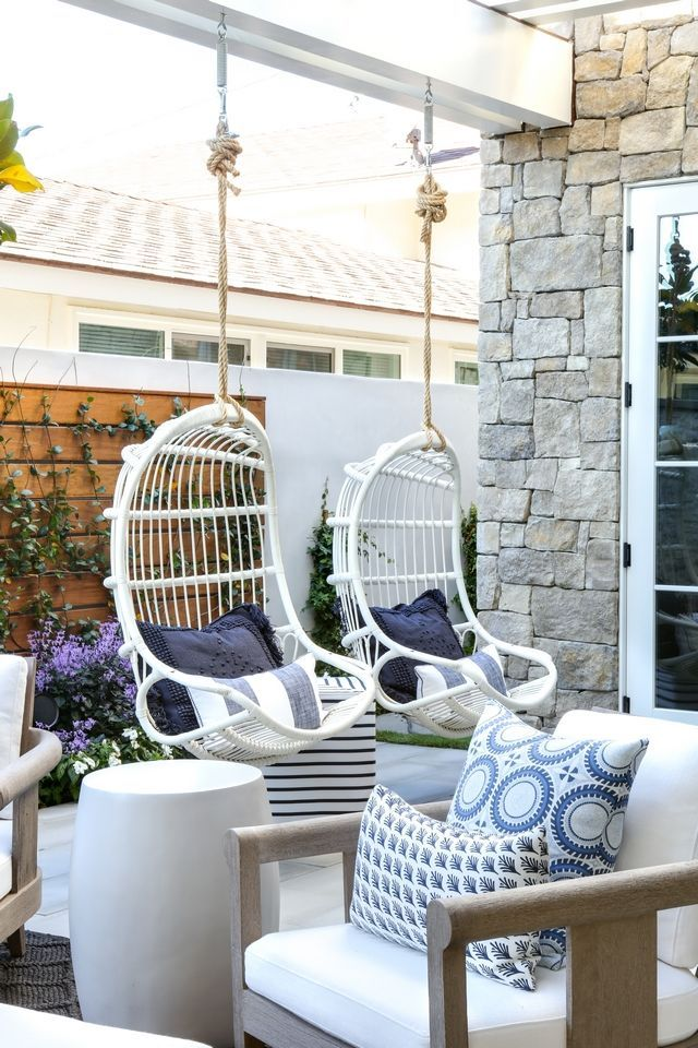 White Hanging Chairs Patio With Pergola And Outdoor White Hanging