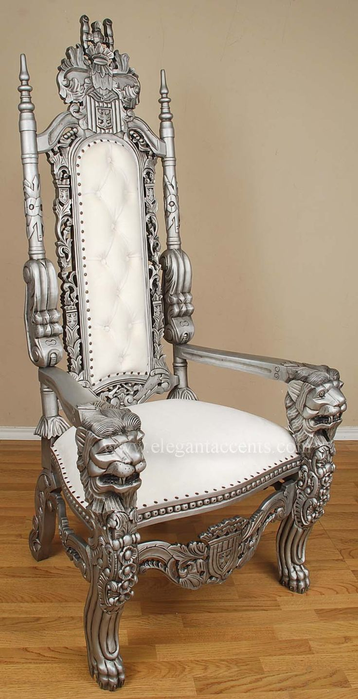 Your seat at the dining room table (it will be a cool mix with the barn style table)   King Lion Throne Chair - Silver & White863 x 1684 | 158.7KB | www.elegantaccents.com