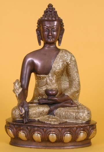 Medicine Buddha Statue, Brass and Copper