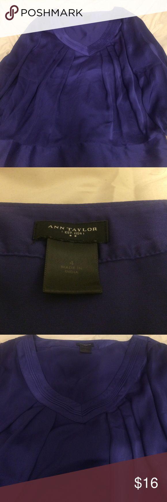 Satin Blouse Beautiful purple pin tucked satin blouse Ann Taylor Tops Blouses