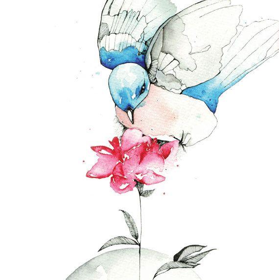 Blue Bird, A4 print, 21cm x 29.5cm, unframed