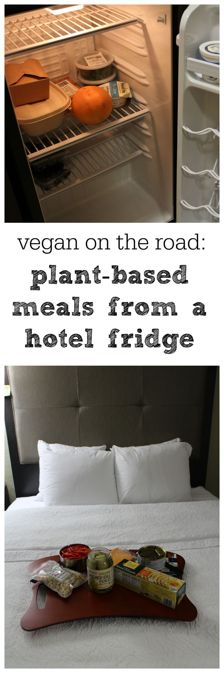 @Cadryskitchen shows how to eat vegan meals in a hotel, even if you only have a dorm-sized refrigerator #vegan #travel