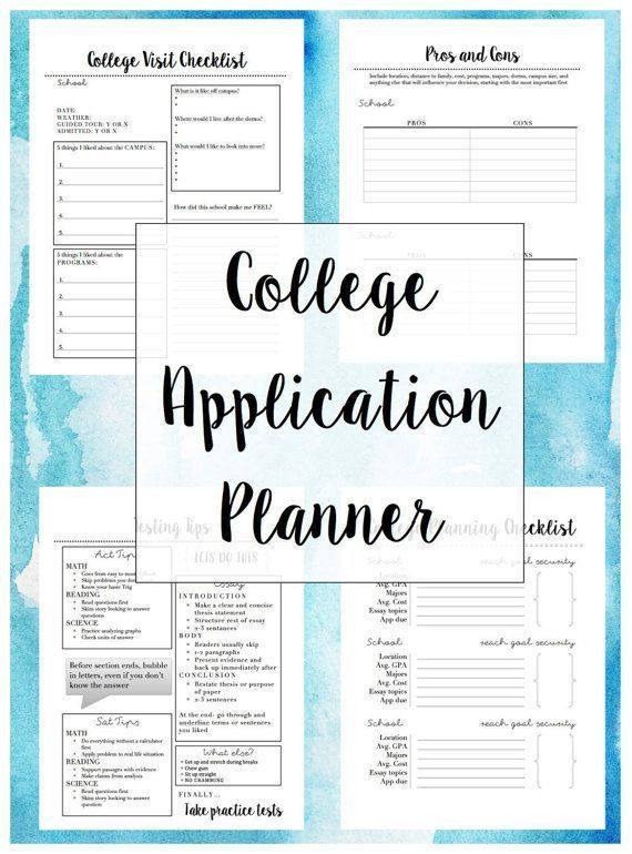 College Application Planner 15 Page Printable College Application College Planner College Checklist