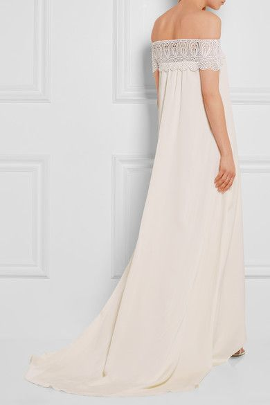 Self-Portrait - Bardot Guipure Lace-trimmed Satin Gown - Ivory - UK12